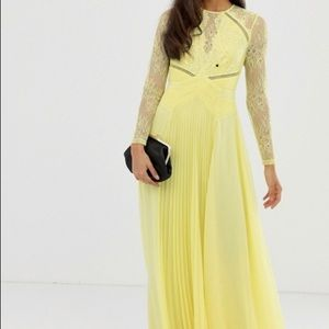 ASOS long sleeve lace panelled pleated maxi dress